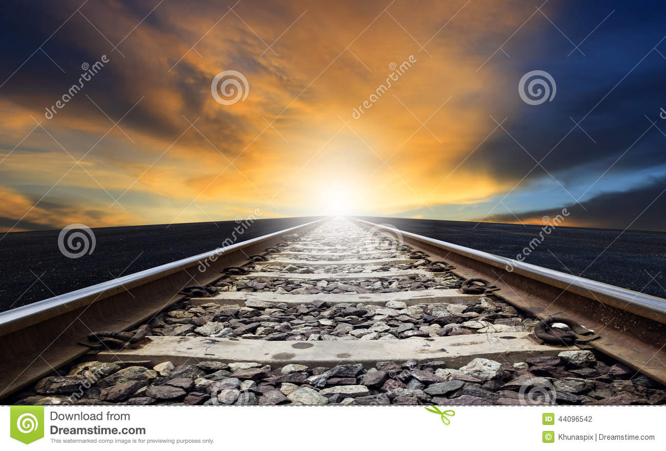 Perspective Of Rail Way Against Beautiful Dusky Sky Use For Land.