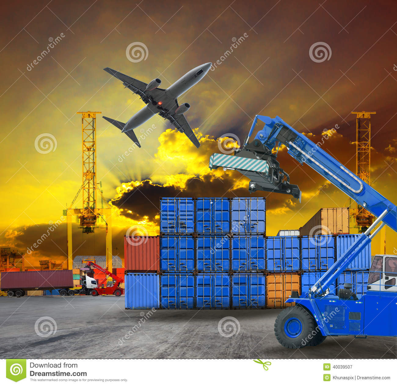 Logistic Business Working In Container Shipping Yard With Dusky.