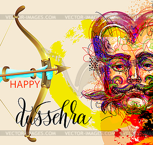 Happy dussehra poster design with portrait.