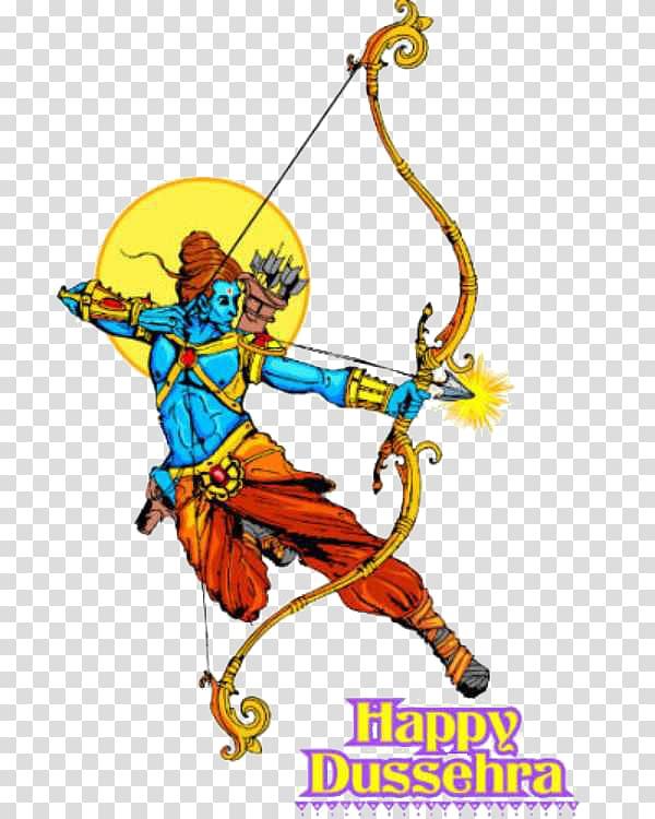 Happy Dussehra art, Ravana Ramayana Lakshmana Illustration.