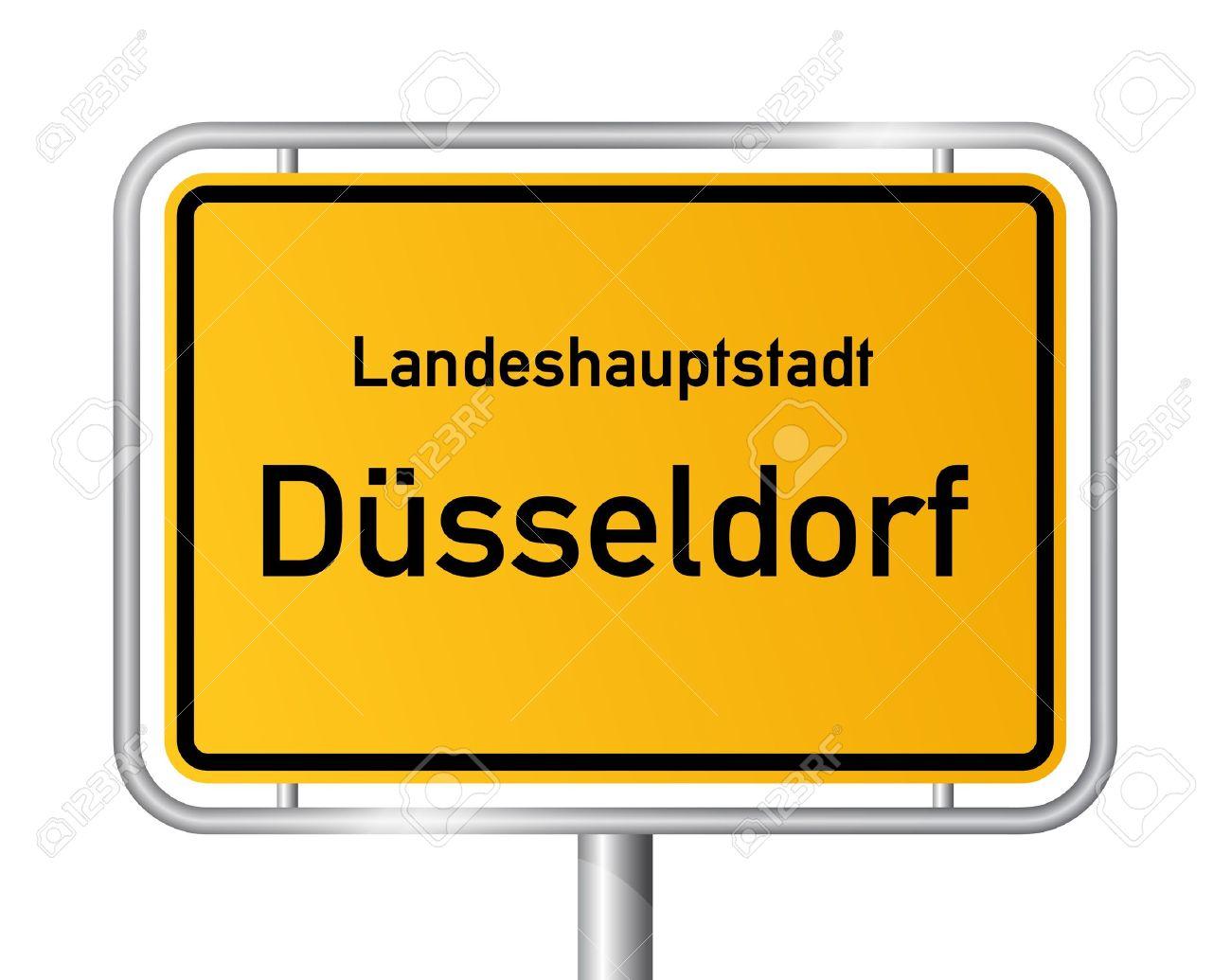 City Limit Sign DUSSELDORF / D SSELDORF Against White Background.