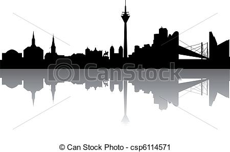 Vector Clip Art of Duesseldorf Skyline abstract on white.