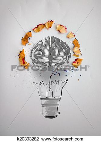 Clip Art of hand drawn light bulb with pencil saw dust and 3d.
