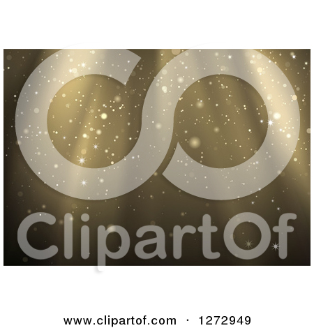 Clipart of a Background of Golden Light Shining down with Specks.