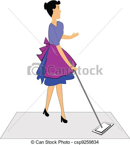 EPS Vector of woman mopping floors.