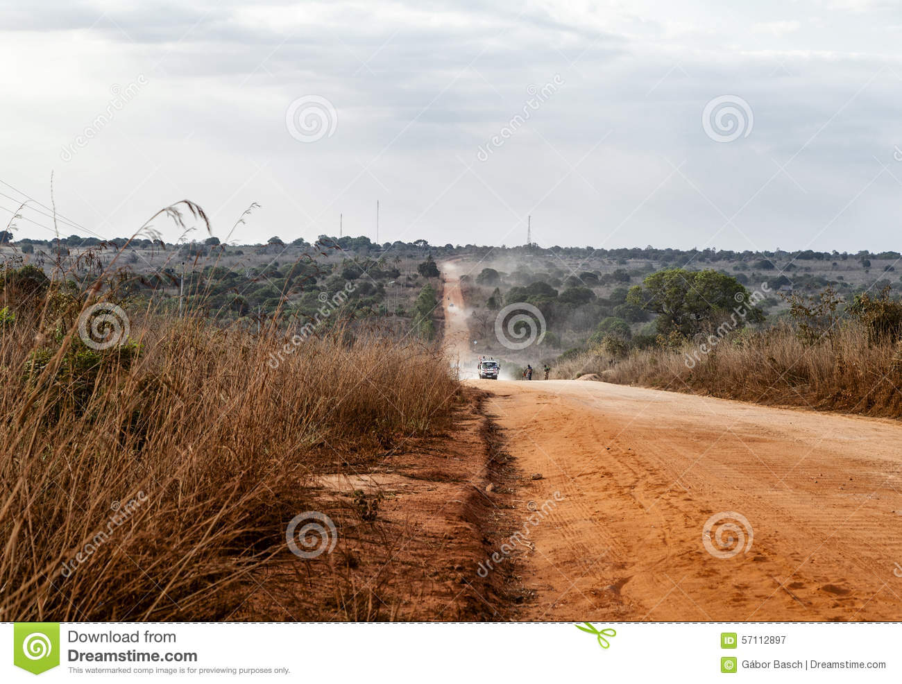 African Dusty Road Stock Photo.