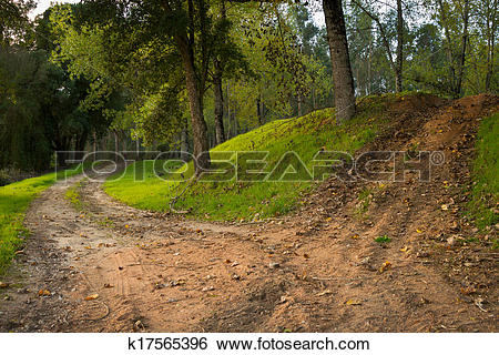 Stock Images of Woods Dusty Road k17565396.