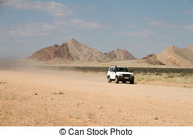 Stock Photography of dusty road in Namibia.