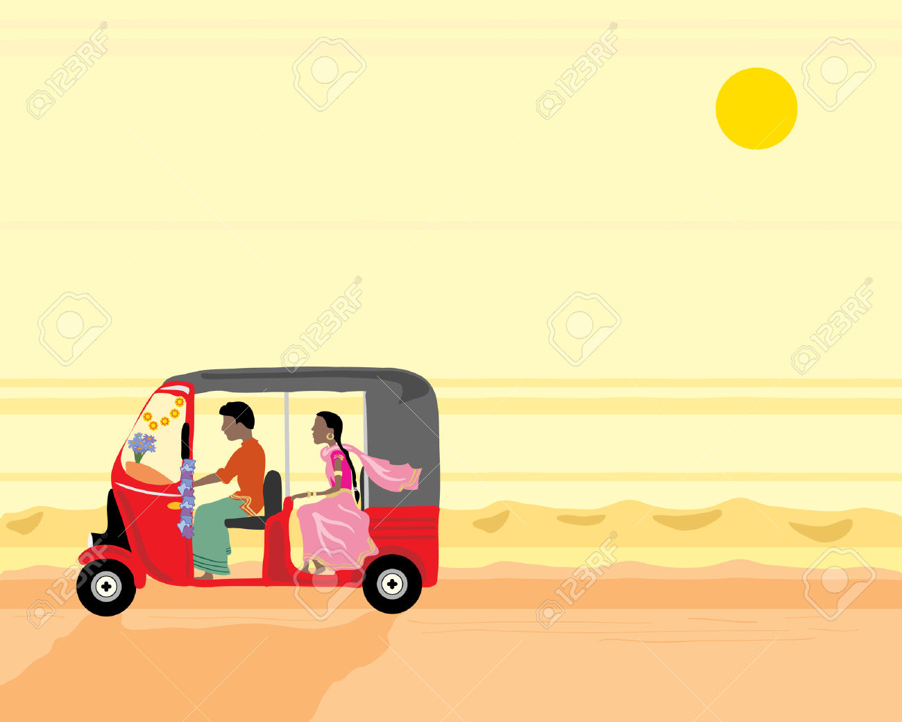 A Hand Drawn Illustration Of A Tuk Tuk With Two People Travelling.