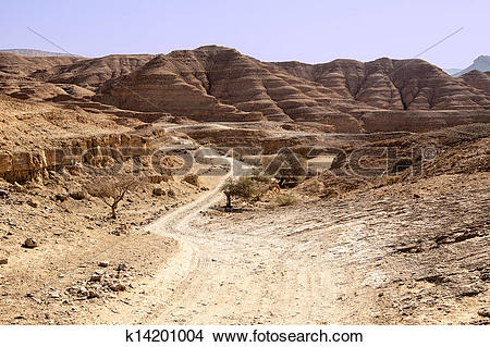 Stock Photo of Dusty Road In The Negev Desert k14201004.