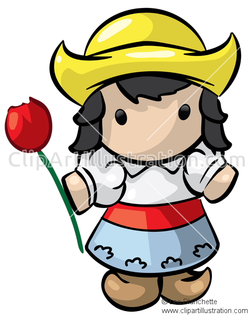 ClipArt Illustration Iconic Dutch Girl (Nederlands meisje) With.