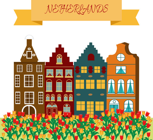 Holland travel cultural and sightseeing symbols frame with.