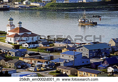 Stock Photo of Aerial view of Russian church and Dutch Harbor.