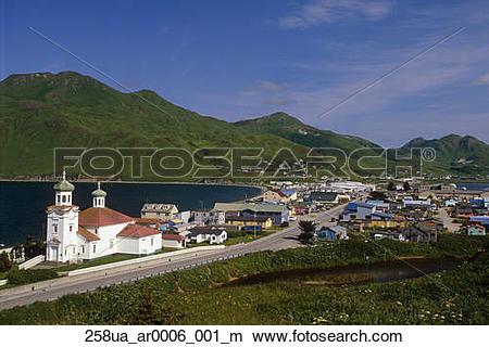 Stock Photo of View of Unalaska & Russian Orthodox Church at Dutch.