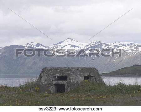 Stock Photo of WWII pillboxes on Dutch Harbor in Alaska bsv3223.