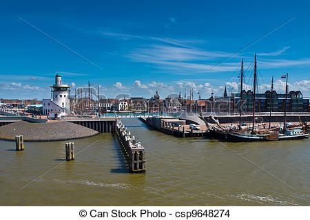 Stock Photo of dutch harbor on the wadden sea.
