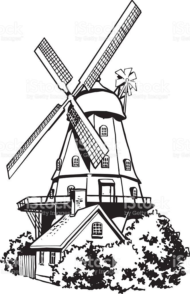Dutch Windmill Vector Clipart stock vector art 518697987.
