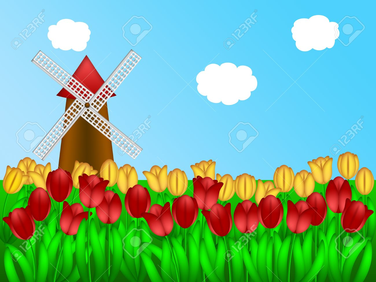 Dutch Windmill In Holland Tulips Field Farm Illustration Stock.