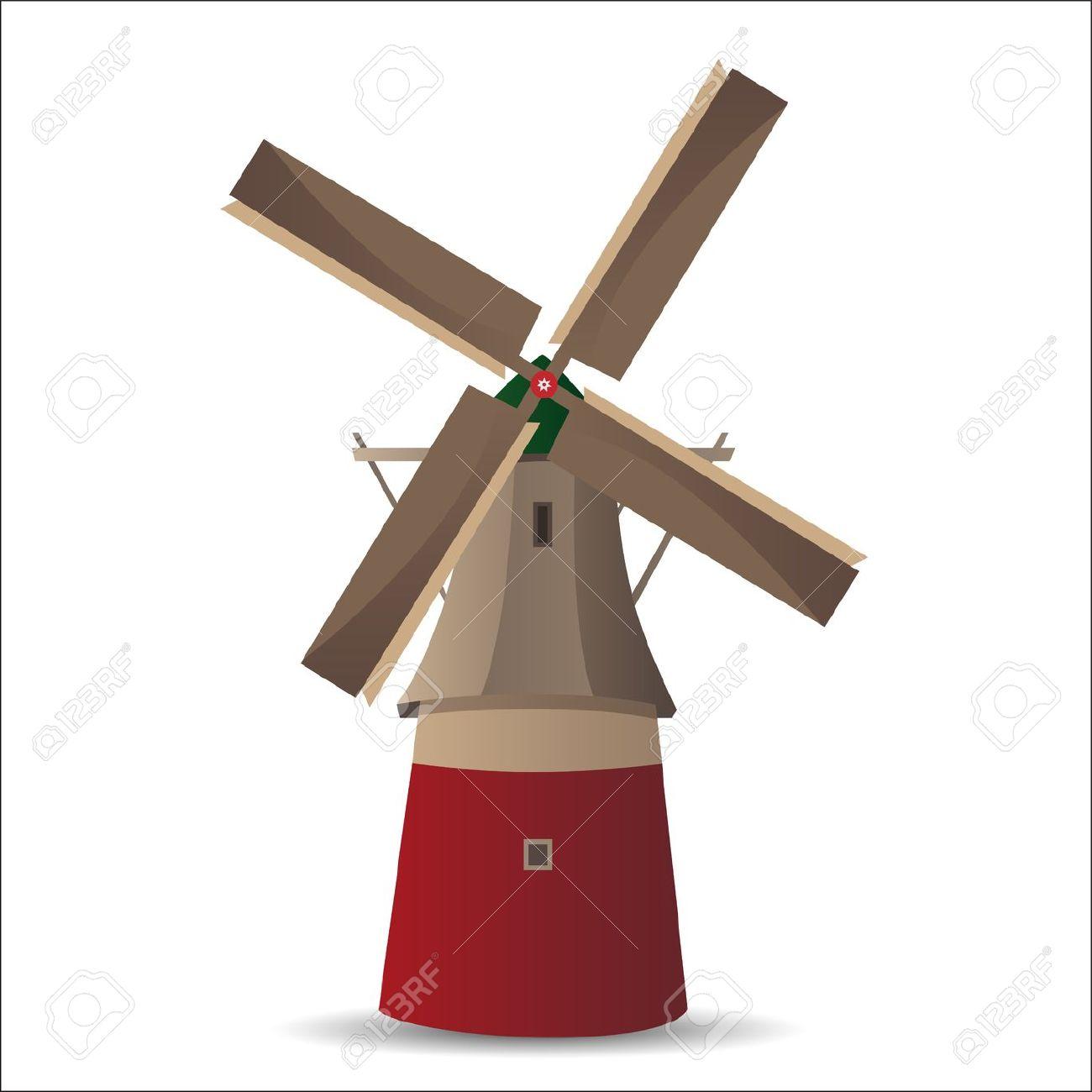 Dutch Windmill Illustration.