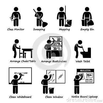 Classroom Student Duty Roster Clipart Stock Vector.