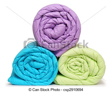 Stock Photo of Rolled up duvet.