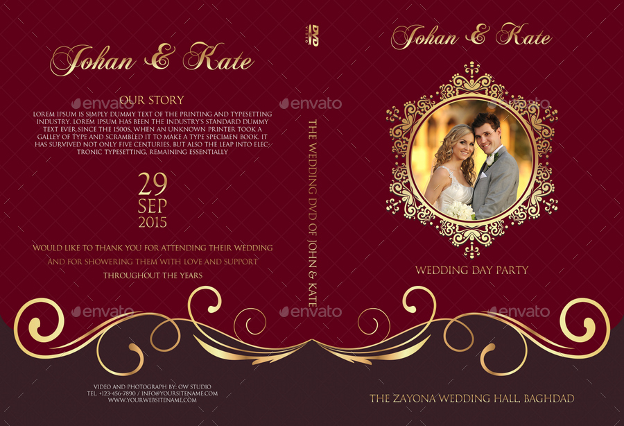 Wedding DVD Cover and DVD Label Template Vol.9.