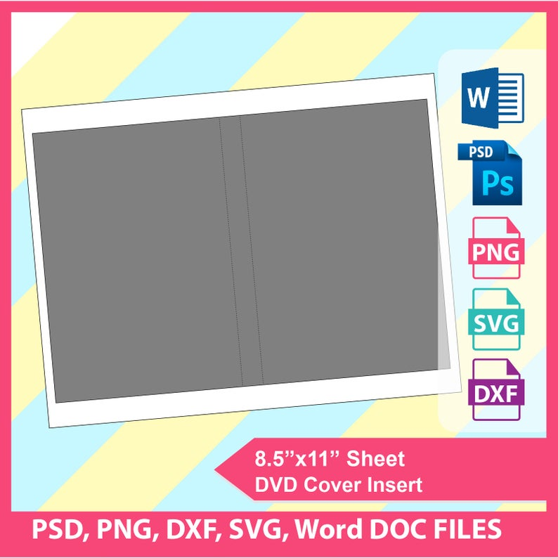 DVD cover insert Template PSD, PNG and Svg, Dxf, Ms word Formats, 8.5x11