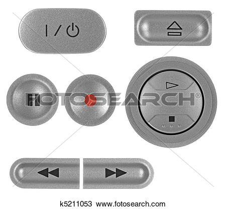 Drawing of Natural silver grey metallic DVD recorder buttons set.