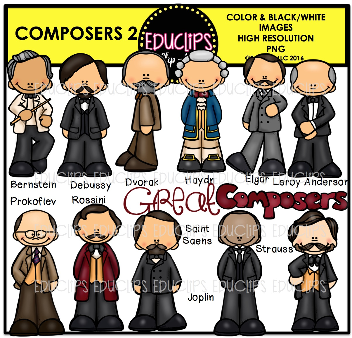 Composers 2 Clip Art Bundle (Color and B&W).