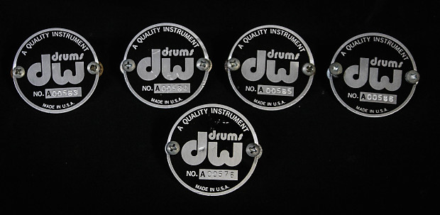 DW Drum Workshop Set Of 3 Early Badges 1980 Black Very Good + Condition.