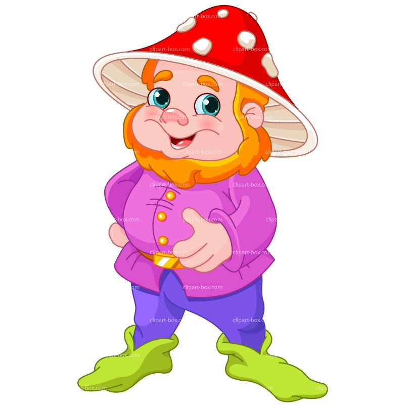 CLIPART GNOME WITH MUSHROOM HAT.