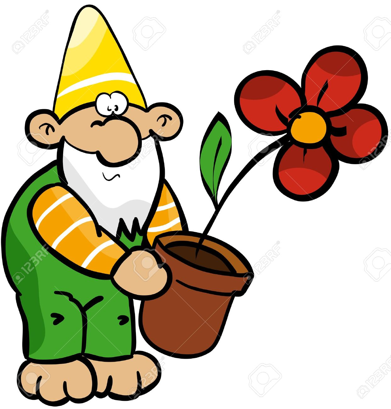 Garden Gnome With Flower Pot Royalty Free Cliparts, Vectors, And.