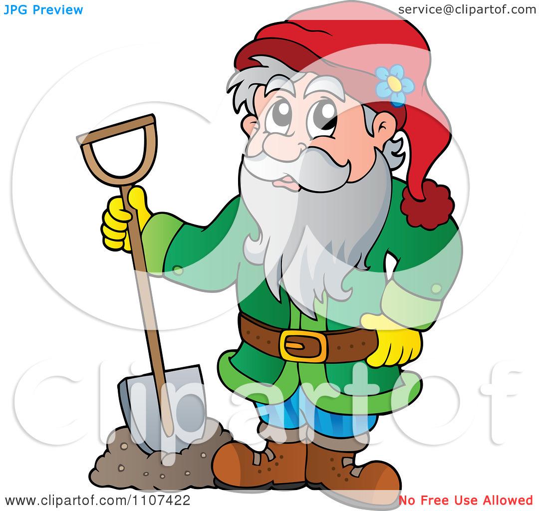 Clipart Garden Dwarf Digging.