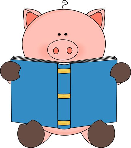 Pig Reading a Book.