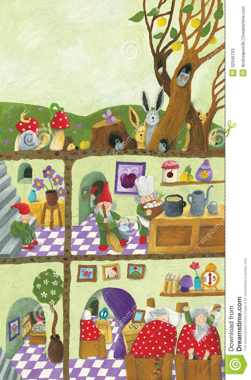 Fairy Tales Dwarf's Underground House Stock Photos.