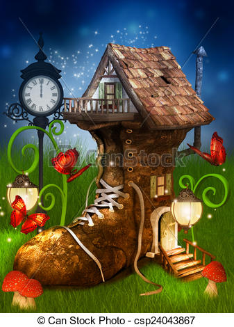 Stock Illustration of magical dwarf's house.