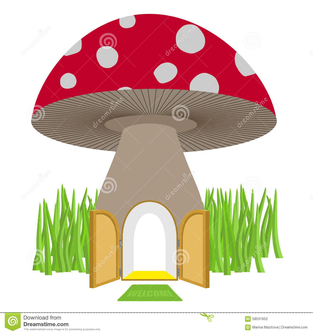 Mushroom With Door Open. Amanita House For A Dwarf, Hobbit. Vect.