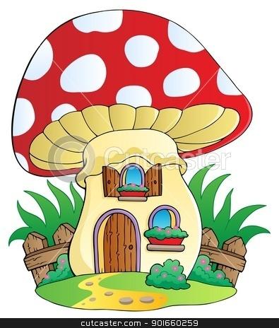 Cartoon mushroom house stock vector.