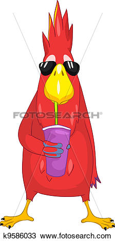 Clipart of Funny Parrot. Cocktail. k9586033.