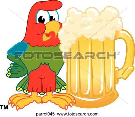 Stock Illustration of Parrot Standing With Beer Mug parrot045.