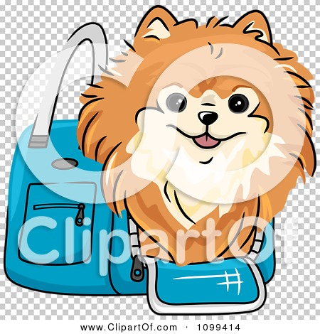 Clipart Happy Red Pomeranian In A Blue Dog Carrier Bag.