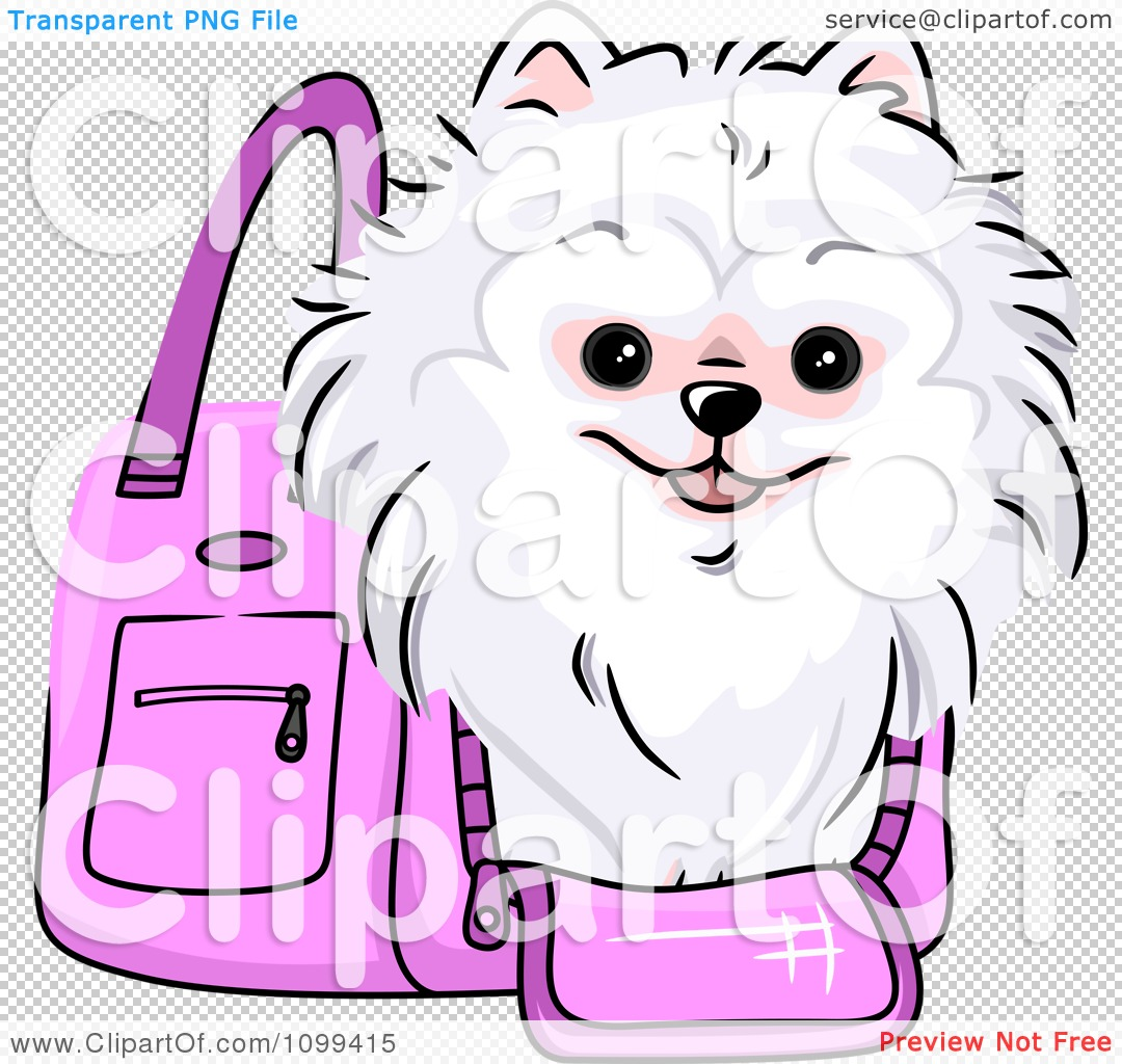 Clipart Happy White Pomeranian In A Pink Dog Carrier Bag.