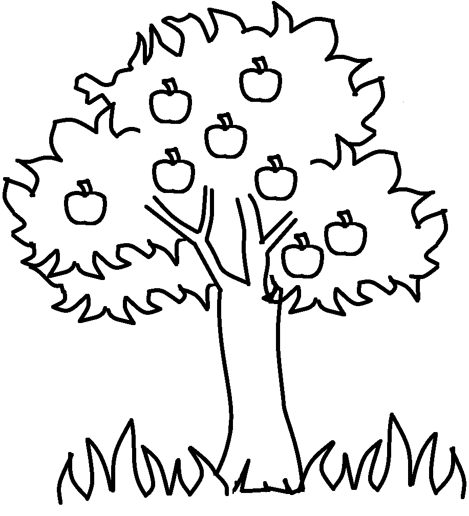 Tree Coloring Pages for Preschoolers, apple tree apple tree.