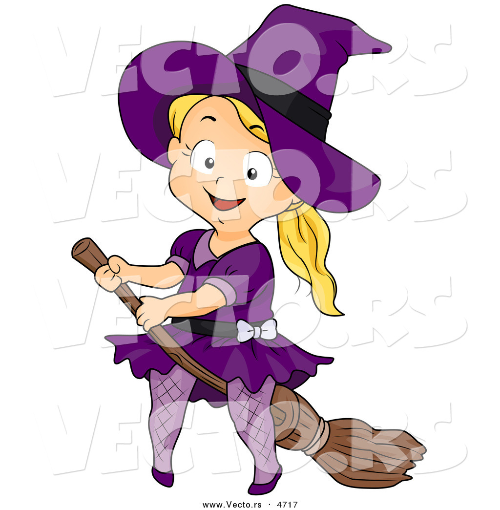 Vector of a Halloween Cartoon Girl Witch Riding a Broomstick by.