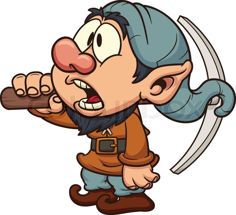Dumb miner dwarf. Vector clip art illustration. All in a single.