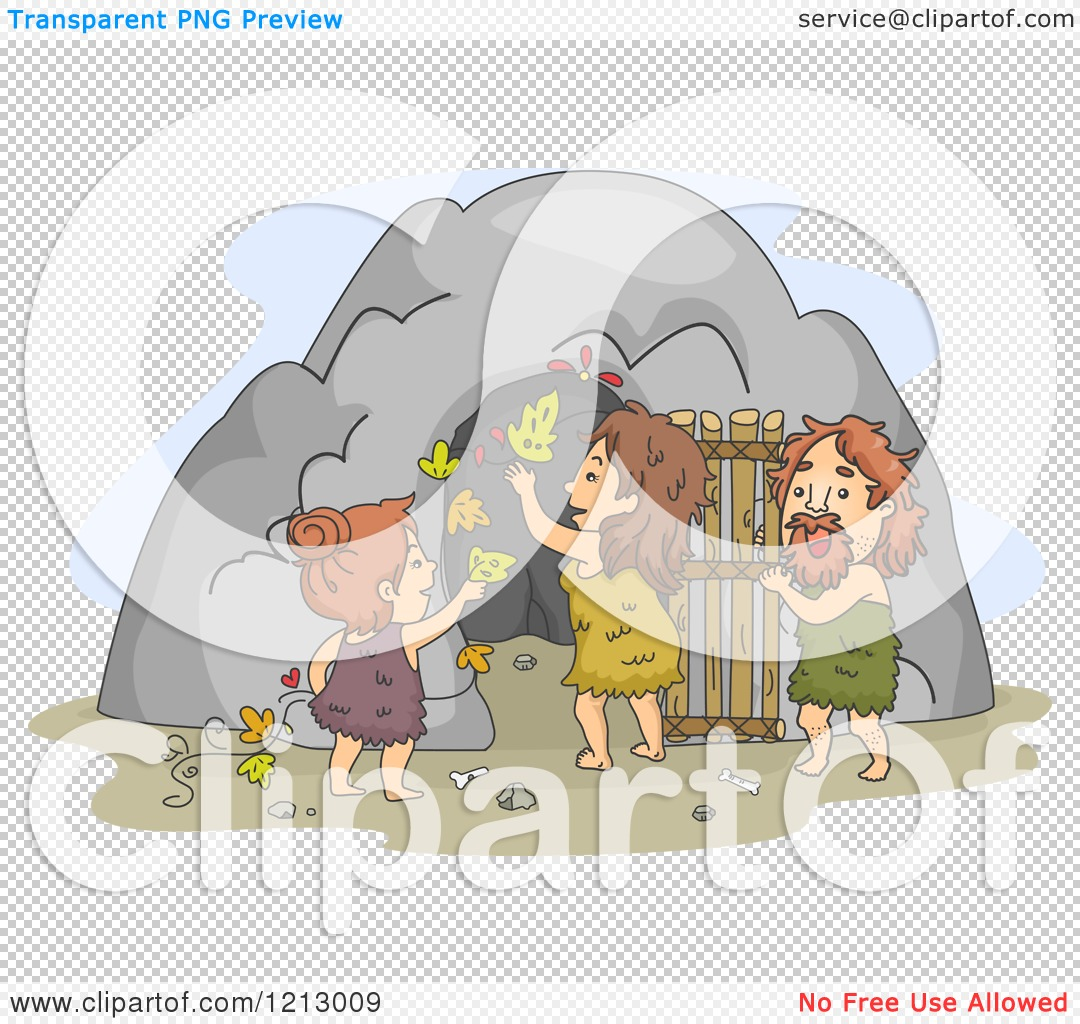 Clipart of a Caveman Family Decorating Their Dwelling Entrance.