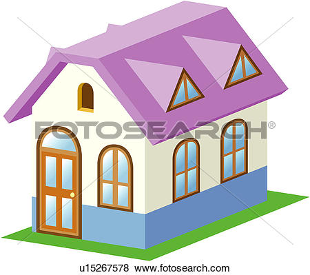 Clip Art of dwelling, house, structure, building, architecture.