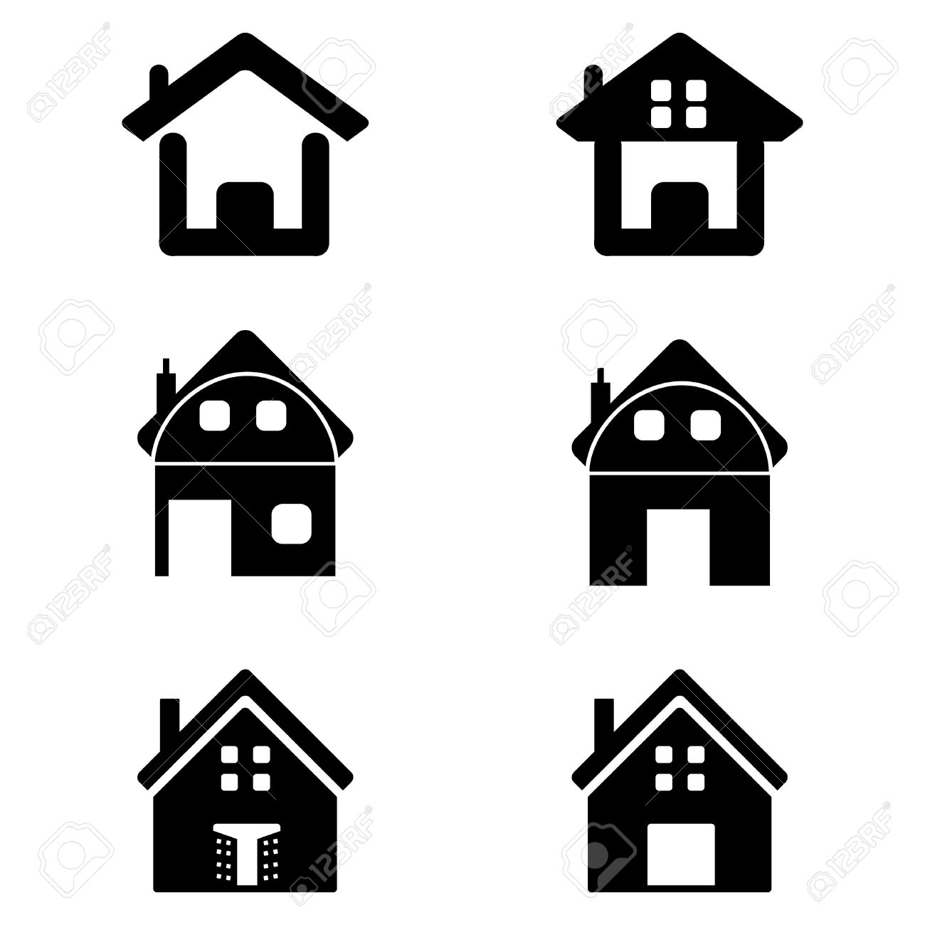 Illustration Of Various Homes On White Background Royalty Free.