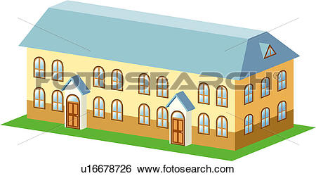 Clip Art of row house, structure, building, architecture, house.