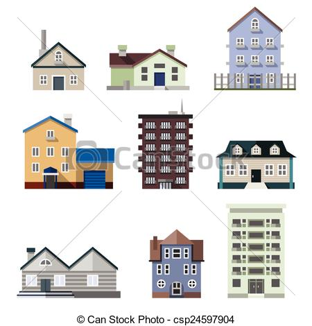 Vector Clipart of Residential house buildings.